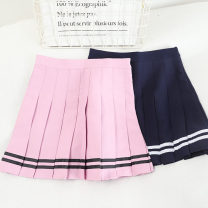 skirt Spring 2021 S,M,L,XL Pink, blue, black, white Short skirt Versatile High waist A-line skirt Solid color Type A 18-24 years old 30% and below