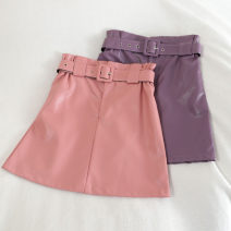 skirt Summer 2020 S,M,L,XL Pink, green, purple, apricot, black Short skirt Versatile High waist A-line skirt Solid color Type A 18-24 years old 30% and below other other