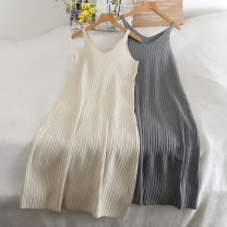 Dress Autumn 2020 Brown, grey, black, apricot Average size longuette singleton  Sleeveless commute V-neck High waist Solid color Socket routine camisole 18-24 years old Type H 30% and below knitting other