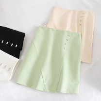 skirt Summer 2020 S,M,L,XL Green, apricot, white, black Short skirt fresh High waist A-line skirt Solid color Type A 18-24 years old