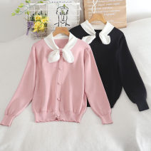 Wool knitwear Autumn 2020 Average size Pink, black, white Long sleeves singleton  Cardigan other 30% and below Regular routine commute Straight cylinder Low crew neck routine Solid color Socket 18-24 years old Button