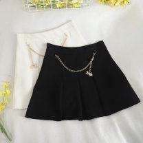 skirt Autumn 2020 S,M,L,XL Black, off white Short skirt commute High waist A-line skirt Solid color Type A 18-24 years old 30% and below other Button, zipper