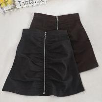skirt Autumn 2020 S,M,L,XL Brown, dark grey, black Short skirt commute High waist A-line skirt Solid color Type A 18-24 years old 30% and below zipper Korean version