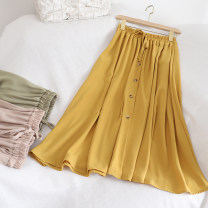 skirt Summer 2020 Average size Yellow, army green, apricot, black Middle-skirt commute High waist A-line skirt Solid color Type A 18-24 years old Retro