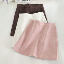 skirt Autumn 2020 S,M,L,XL Pink, coffee, black, white Short skirt Versatile High waist A-line skirt Solid color Type A 18-24 years old 30% and below