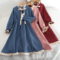 Dress Autumn 2020 Pink, Burgundy, blue, apricot, black Average size Middle-skirt singleton  Long sleeves Polo collar High waist Solid color Socket Lotus leaf sleeve Others 18-24 years old Type A 30% and below