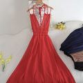 Dress Summer 2020 Black, red, sapphire, light coffee Average size Middle-skirt singleton  Sleeveless commute Crew neck High waist Solid color Socket A-line skirt Lotus leaf sleeve camisole 18-24 years old Type A Chiffon other
