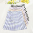 skirt Summer 2020 S,M,L,XL Blue, purple, apricot, black Short skirt Versatile High waist Pleated skirt lattice Type A 18-24 years old 30% and below other other