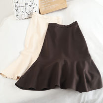 skirt Winter 2020 S,M,L,XL Brown, apricot, black Mid length dress Versatile High waist A-line skirt Solid color Type A 18-24 years old 30% and below other