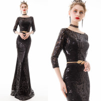 Dress / evening wear Wedding, adulthood, party, company annual meeting, performance, routine, appointment XXL,XXXL,XXS,XS,S,M,L,XL Black, red, gold, dark blue, champagne gold fashion longuette middle-waisted Spring 2021 fish tail U-neck zipper Mesh, poplin, Sequin 26-35 years old ZH9651 Nail bead