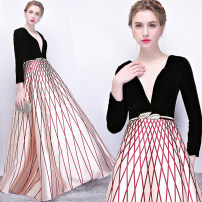 Dress / evening wear Wedding, adulthood, party, company annual meeting, performance, routine, appointment XXL,XXXL,XXS,XS,S,M,L,XL Champagne Simplicity longuette middle-waisted Spring 2021 Fall to the ground Deep collar V zipper Brocade 18-25 years old WL173 Long sleeves Embroidery stripe routine
