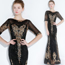 Dress / evening wear Wedding, adulthood, party, company annual meeting, performance, routine, appointment XXL,XXXL,XS,S,M,L,XL Black, green, sapphire, deep purple, scarlet, champagne powder fashion longuette middle-waisted Spring 2021 fish tail U-neck zipper Sequins 18-25 years old elbow sleeve other