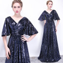 Dress / evening wear Wedding, adulthood, party, company annual meeting, performance, routine, appointment XXL,XXXL,XXS,XS,S,M,L,XL Navy, rose gold grace longuette middle-waisted Spring 2021 Fall to the ground One shoulder Deep V style Netting 18-25 years old WL130 elbow sleeve Nail bead Solid color
