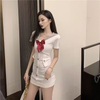 Dress Summer 2021 White, black S,M,L Short skirt singleton  Short sleeve Sweet Pile collar middle-waisted Solid color Socket other other Others 18-24 years old Type H zipper 51% (inclusive) - 70% (inclusive) other polyester fiber