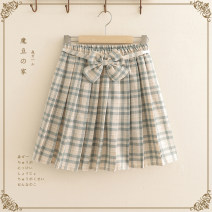skirt Summer 2020 Average size Short skirt Sweet High waist Pleated skirt lattice Type A Under 17 51% (inclusive) - 70% (inclusive) cotton solar system