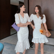 Dress Summer 2020 Long dress, short dress S,M,L,XL Mid length dress singleton  Short sleeve commute V-neck High waist Solid color Socket Ruffle Skirt puff sleeve 25-29 years old Type A Fawn wants to fly Korean version cotton