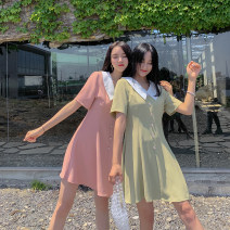 Dress Summer of 2019 Green, pink S,M,L,XL Short skirt singleton  Short sleeve commute tailored collar High waist Solid color Socket A-line skirt routine 25-29 years old Type A Fawn wants to fly Korean version Button LQ19B2988 91% (inclusive) - 95% (inclusive) polyester fiber