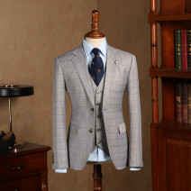 man 's suit grey Others Fashion City routine 46,48,50,52,54,56 G-XZ1817-2 Self cultivation Double breasted Other leisure Double slit youth Long sleeves autumn routine Flat lapel lattice 2018