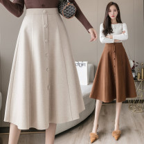 skirt Winter 2020 S M L XL 2XL Black Khaki apricot Mid length dress commute High waist Umbrella skirt Solid color Type A 25-29 years old LK203-0957 More than 95% Memory format other Korean version PU Pure e-commerce (online only)