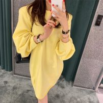Sweater / sweater Spring 2021 Light yellow Average size Long sleeves have more cash than can be accounted for Socket singleton  routine Crew neck Straight cylinder commute routine Solid color 18-24 years old 81% (inclusive) - 90% (inclusive) Other / other Korean version cotton Splicing cotton
