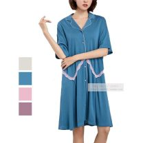 Nightdress Yu Fan's Poems Milky white, blue, Fuchsia, pink 165(L),170(XL),175(XXL) Simplicity Middle sleeve Leisure home longuette summer Solid color youth Small lapel cotton pure cotton
