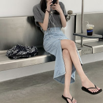skirt Autumn 2020 S,M,L Light blue, dark blue longuette commute High waist Solid color Type A Korean version