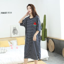 Nightdress Other / other Tibetan green striped watermelon skirt, pink striped pineapple skirt, Gray Striped strawberry skirt XL (recommended 100-160 kg), XXL (recommended 160-260 kg) Simplicity Short sleeve Leisure home longuette summer stripe youth Crew neck cotton Embroidery More than 95%