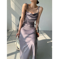 Dress Summer 2021 Bright yellow, silver pink, midnight grey, bright yellow spot, silver pink spot, midnight Grey Spot S,M,L Mid length dress singleton  Sleeveless commute Dangling collar High waist Solid color Socket A-line skirt camisole Type A Korean version Bandage 211016Y More than 95%