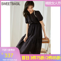 Dress Summer 2021 This is white and black S M L XL Middle-skirt singleton  Short sleeve Sweet Crew neck High waist Solid color Socket Big swing puff sleeve Hanging neck style 25-29 years old Type A Sweet basil / Zishu backless More than 95% other cotton Cotton 100% college