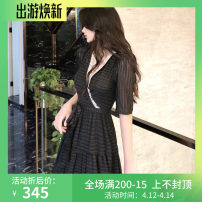 Dress Summer 2020 T67-s-black S,M,L longuette singleton  Short sleeve commute V-neck High waist Big swing routine 25-29 years old Type A Other / other Korean version