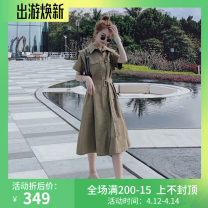 Dress Summer 2021 Deep Khaki S,M,L,XL longuette singleton  Short sleeve square neck High waist Solid color Single breasted A-line skirt routine Others Type A Other / other WN0002154 51% (inclusive) - 70% (inclusive) other cotton