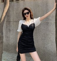 Dress Summer 2021 White, black S, M Short skirt singleton  Short sleeve commute Crew neck High waist Solid color puff sleeve 18-24 years old Other / other Korean version 71% (inclusive) - 80% (inclusive) polyester fiber