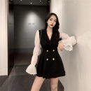 Dress Autumn of 2019 Black dress S,M,L,XL Short skirt singleton  Long sleeves commute V-neck High waist Solid color double-breasted A-line skirt puff sleeve Others Type A Other / other Korean version Button
