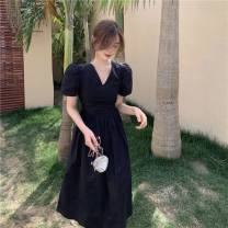 Dress Splicing longuette Short sleeve singleton  commute V-neck Solid color High waist Condom 18-24 years old routine A-line skirt polyester fiber Type A Other Korean version other Summer 2021 51% (inclusive) - 70% (inclusive) Other / other S,M,L