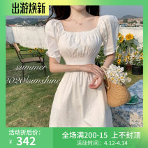Dress Summer 2021 White, purple Average size Short skirt singleton  Short sleeve square neck High waist Solid color Socket A-line skirt puff sleeve Others 18-24 years old Type A Other / other