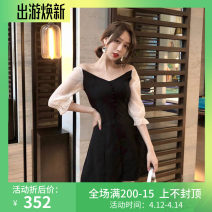 Women's large Summer of 2019 black M (85-100kg), l (100-115kg), XL (115-130kg) Dress singleton  Sweet easy moderate Socket elbow sleeve Solid color One word collar polyester puff sleeve WN0000097 25-29 years old Button 51% (inclusive) - 70% (inclusive) Short skirt other zipper