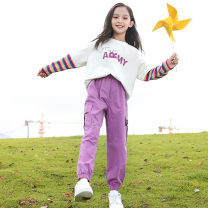 suit Other / other White coat + purple trousers + white coat {black} 120cm,130cm,140cm,150cm,160cm,170cm female spring and autumn Korean version Long sleeve + pants 2 pieces routine There are models in the real shooting Socket nothing other other children Expression of love other Other 100%