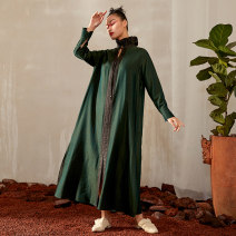Dress Spring 2021 blackish green S M L longuette singleton  Long sleeves commute Lotus leaf collar Loose waist Solid color Socket A-line skirt shirt sleeve 30-34 years old Type A Jn / JW / in and out of bounds literature Three dimensional decorative asymmetric binding button 3D J11Q030 Silk and satin