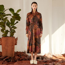 Dress Spring 2021 Decor Average size longuette singleton  Long sleeves commute V-neck middle-waisted Decor Socket A-line skirt routine Others 30-34 years old Type A Jn / JW / in and out of bounds ethnic style Three dimensional decorative asymmetric button printing for pleated pocket J11Q073 silk