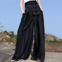 Casual pants Scarlet Brown Black S L M Spring of 2018 trousers Wide leg pants High waist original routine 25-29 years old 96% and above J81K038 Jn / JW / in and out of bounds polyester fiber Bandage polyester fiber Polyester 100% Pure e-commerce (online only)