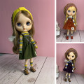 BJD doll zone suit 1/6 Over 14 years old Customized Olive green skirt + yellow blue white sweater, deep purple skirt + yellow blue white sweater, rust red skirt + yellow black and white sweater Hair belt