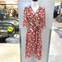 Dress Summer 2021 Red J M,L,XL,2XL singleton  commute middle-waisted Broken flowers routine Mingxun 30% and below other