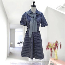 Dress Summer 2021 Navy Blue M,L,XL,2XL Mid length dress singleton  Short sleeve commute other lattice Socket routine Button Naswell n2102l062 71% (inclusive) - 80% (inclusive) cotton