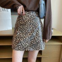 skirt Autumn 2020 S,M,L,XL khaki , black , White Leopard Print , Coffee Leopard Short skirt commute High waist A-line skirt other Type A 25-29 years old Q - forty-five 30% and below other Other / other other Korean version
