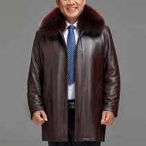 leather clothing Baywell Business gentleman 170 / (m), 175 / (L), 180 / (XL), 185 / (XXL), 190 / (3XL), 195 / (4XL), 200 / (5XL) plus 50 yuan, 205 / (6xl) plus 50 yuan Medium length Leather clothes Lapel Straight cylinder zipper winter leisure time middle age Sheepskin Business Casual FL-1683068#