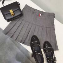 skirt Summer of 2019 Short skirt commute High waist Pleated skirt Solid color Type A 18-24 years old zipper Korean version