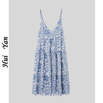 Women's large Spring 2021 Little blue flower S,M,L,XL,2XL,3XL Vest / sling singleton  commute Self cultivation thin Socket Short sleeve Decor Korean version V-neck polyester Three dimensional cutting 9306# Medium length