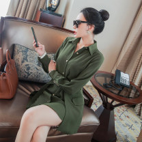 Dress Spring 2021 Army green S,M,L,XL Short skirt Two piece set Long sleeves commute Polo collar Loose waist Solid color Single breasted other shirt sleeve Others 30-34 years old Type H Ol style Button