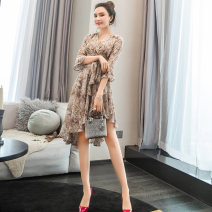 Dress Spring 2020 As shown in the figure S,M,L,XL Mid length dress singleton  three quarter sleeve commute Half open collar High waist other other Irregular skirt pagoda sleeve Others 25-29 years old Type A lady Bandage