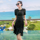 Dress Summer 2020 black S,M,L,XL Short skirt singleton  Short sleeve commute Crew neck High waist Solid color Socket A-line skirt routine Others 25-29 years old Type A lady Fold, Sequin